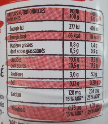 Yop fraise - Voedingswaarden - fr