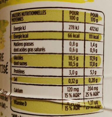 Yaourt à boire sucré aromatisé - Informations nutritionnelles - fr