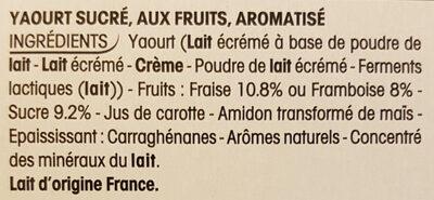 Panier de Yoplait Fraise et Framboise - Ingredients