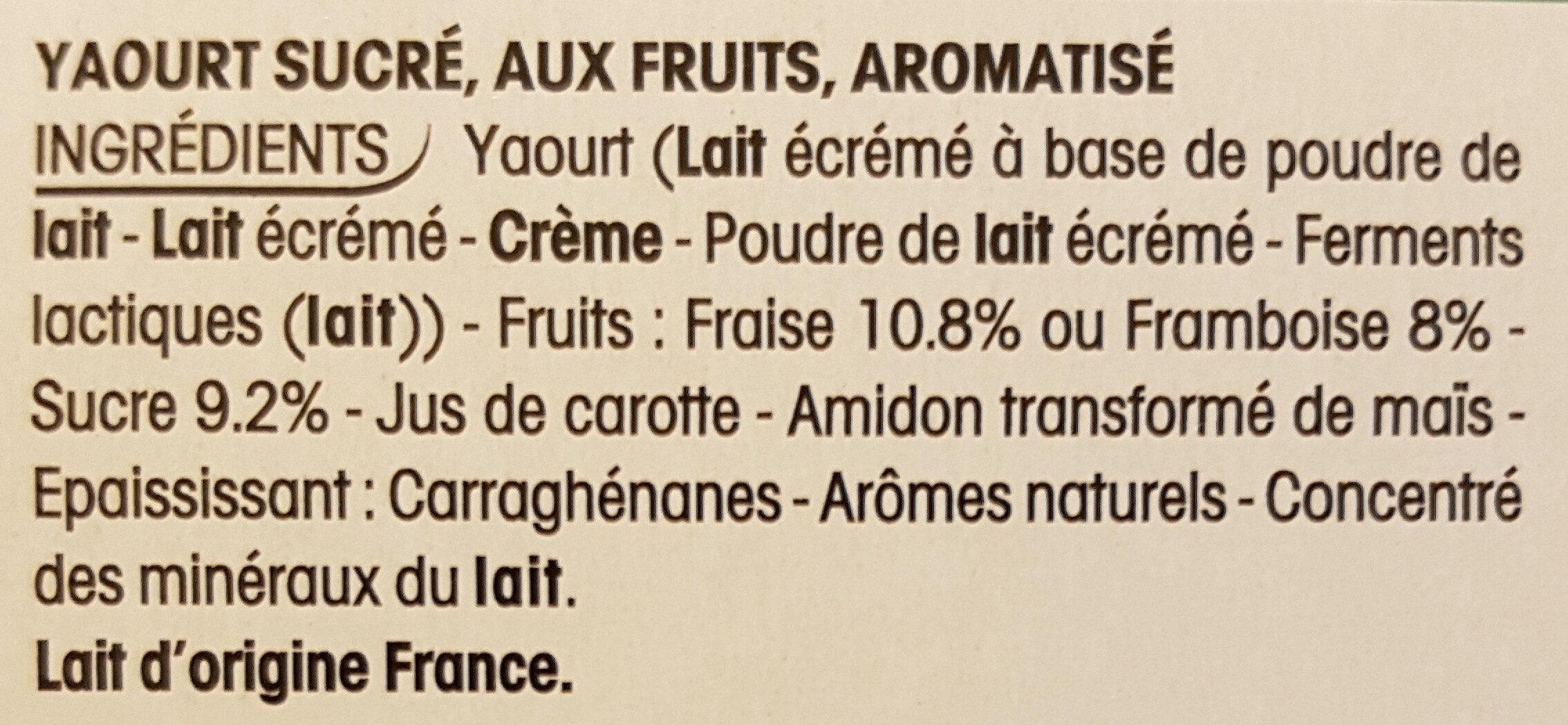 Panier de Yoplait Fraise et Framboise - Ingrédients