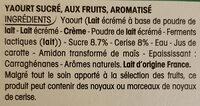 Panier de Yoplait - Cerise - Ingrédients
