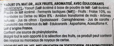 Yogourt fruits rouges 0% - Ingrédients - fr