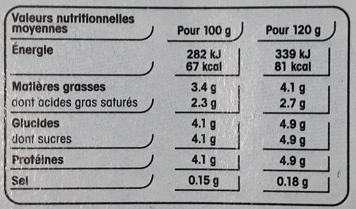 Brassé nature au lait entier - Nutrition facts