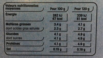 Yaourt Brassé Nature - Informations nutritionnelles