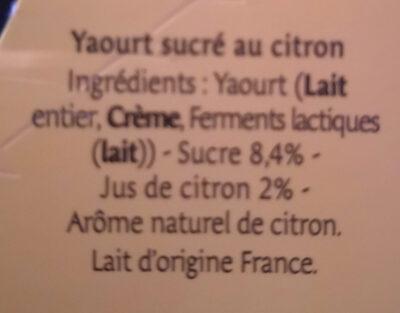 Yaourt au lait entier citron - Ingrédients - fr