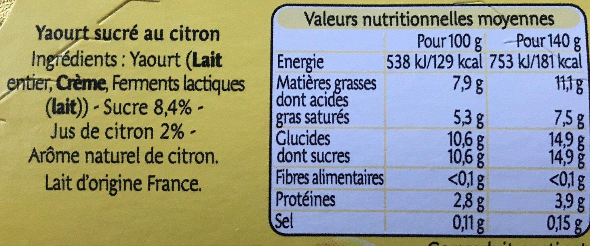 Yaourt au lait entier citron - Informations nutritionnelles - fr