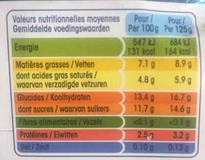 Perle de lait vanille - Nutrition facts