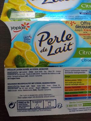 Perle de lait citron - Ingredients
