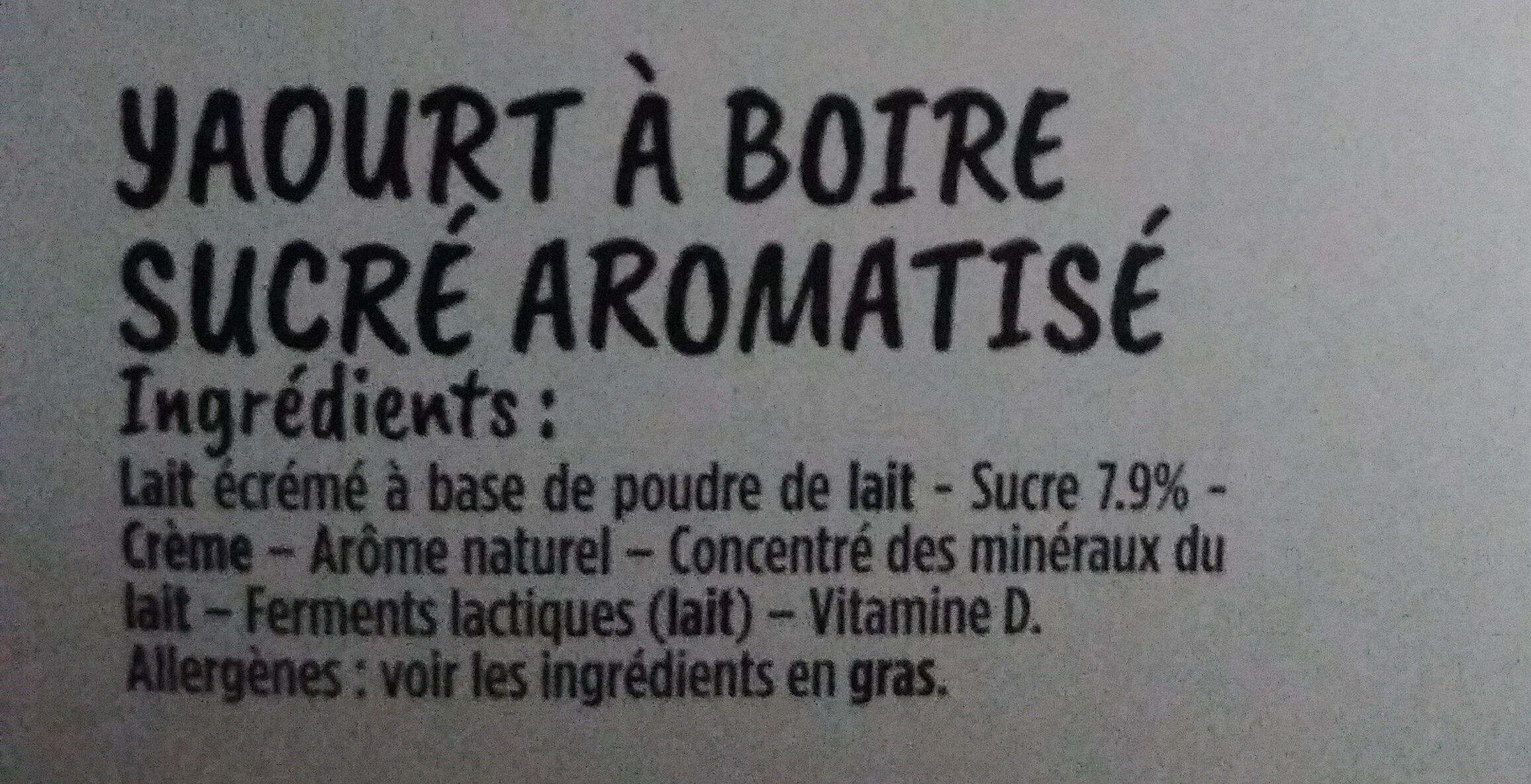 Yop - Ingrediënten - fr