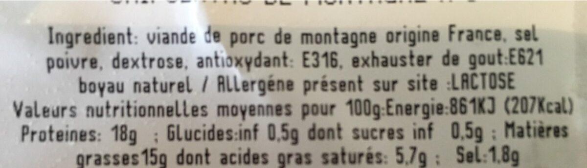 Chipolatas de montagne - Ingrédients - fr