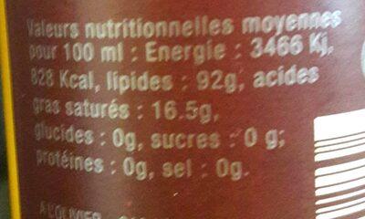 Huile vierge d'argan bio - Nutrition facts - fr