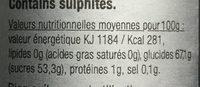 Crème au vinaigre balsamique de modene - Informations nutritionnelles - fr