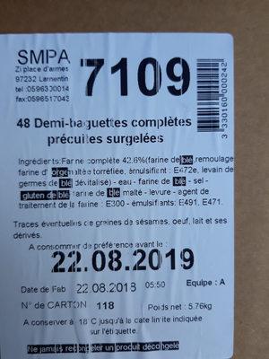 48 demi-baguette complètes précipités congelées - Produit - fr