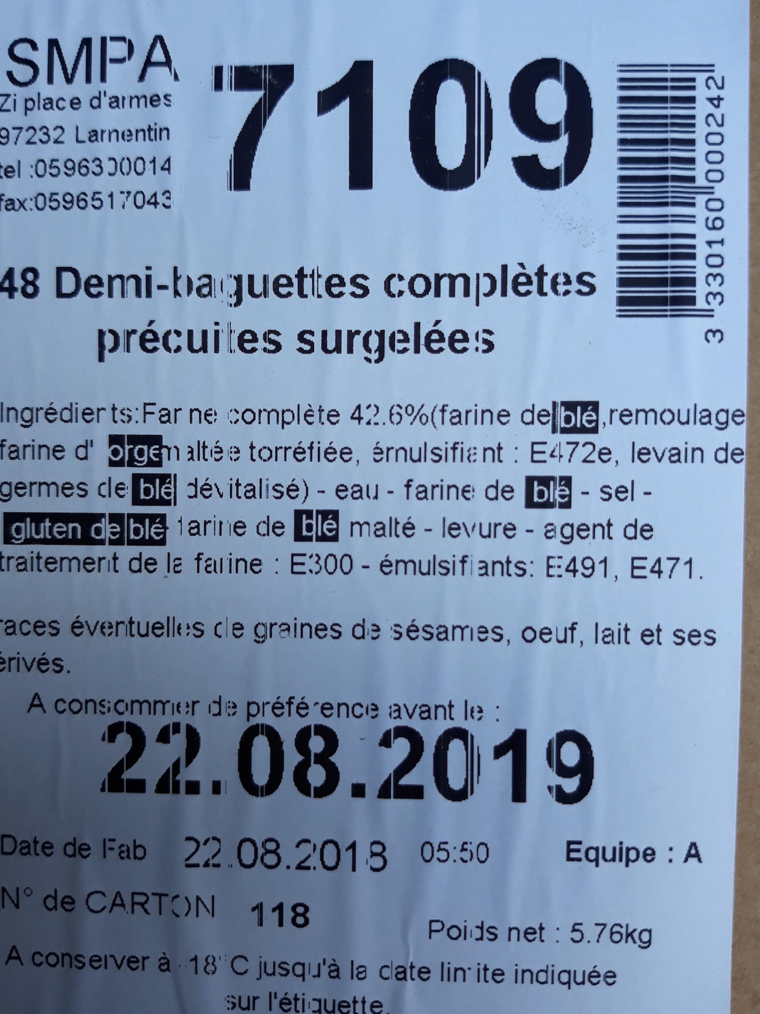 48 demi-baguette complètes précipités congelées - Ingrédients - fr