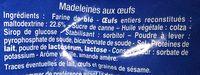 Madeleines aux oeufs - Ingrédients - fr