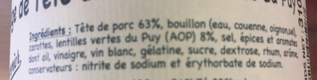 Fromage de tete TEYSSIER - Ingrédients