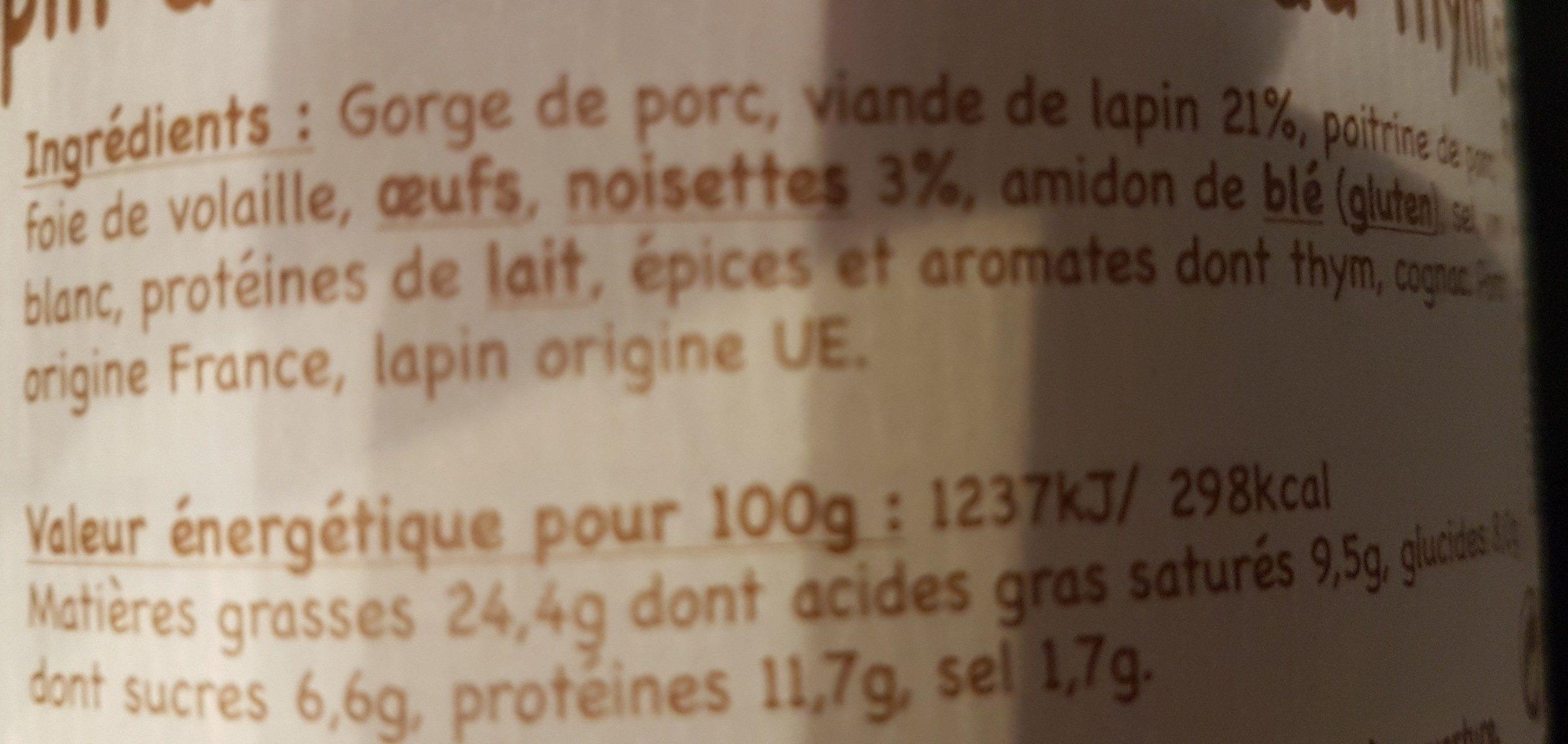 Terrine de lapin aux noisettes et au thym - Ingrédients - fr