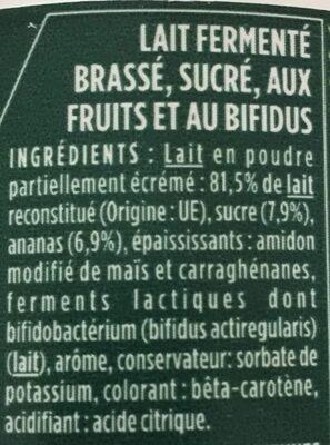 Activia - Lait fermenté brassé, sucré, aux fruits et au bifidus - Ingredienti - fr
