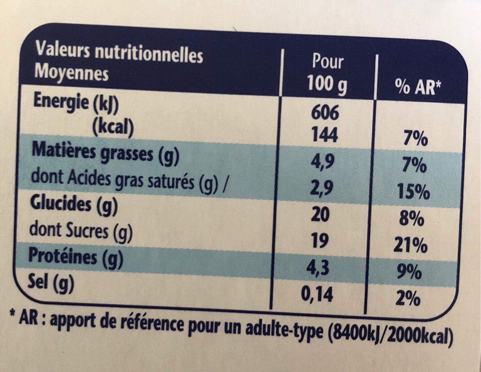 Danette chocolat - Informations nutritionnelles - fr
