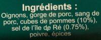 Boudin noir aux pommes - Ingrédients - fr
