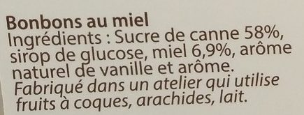 Bonbons parfum miel - Ingredients - fr