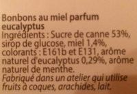 Bonbon miel eucalyptus - Ingredients - fr