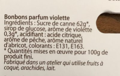 Bonbons arôme violette - Ingredients