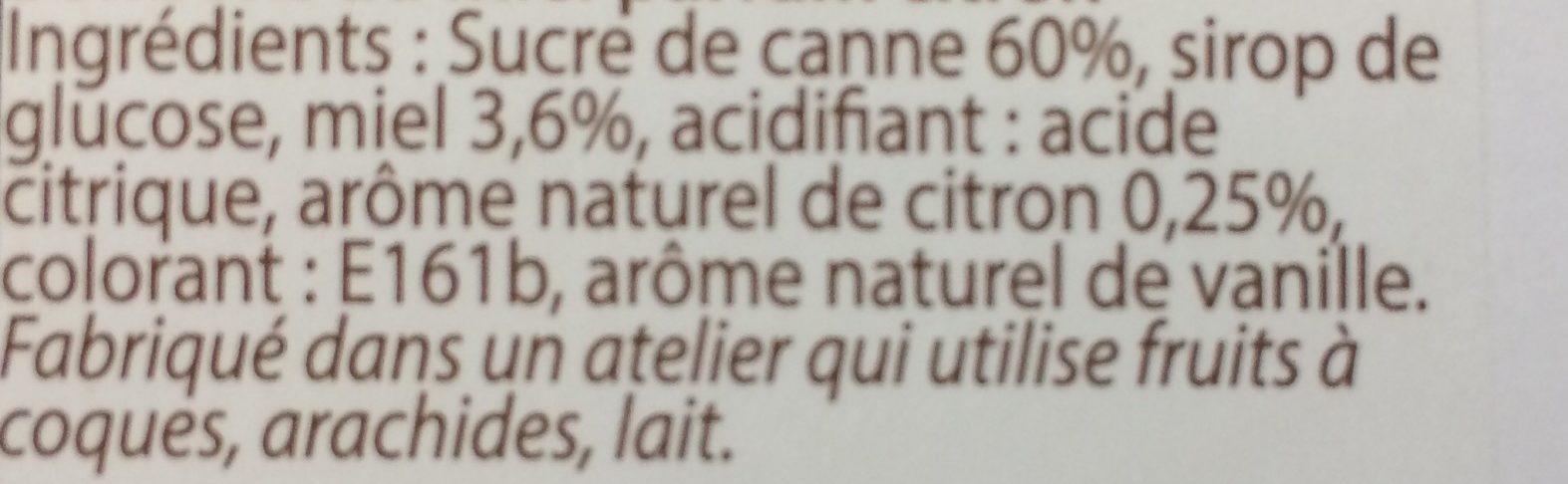 Bonbons Miel parfum Citron - Ingredients
