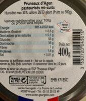 Pruneaux d'agen mi-cuits - Nutrition facts - fr