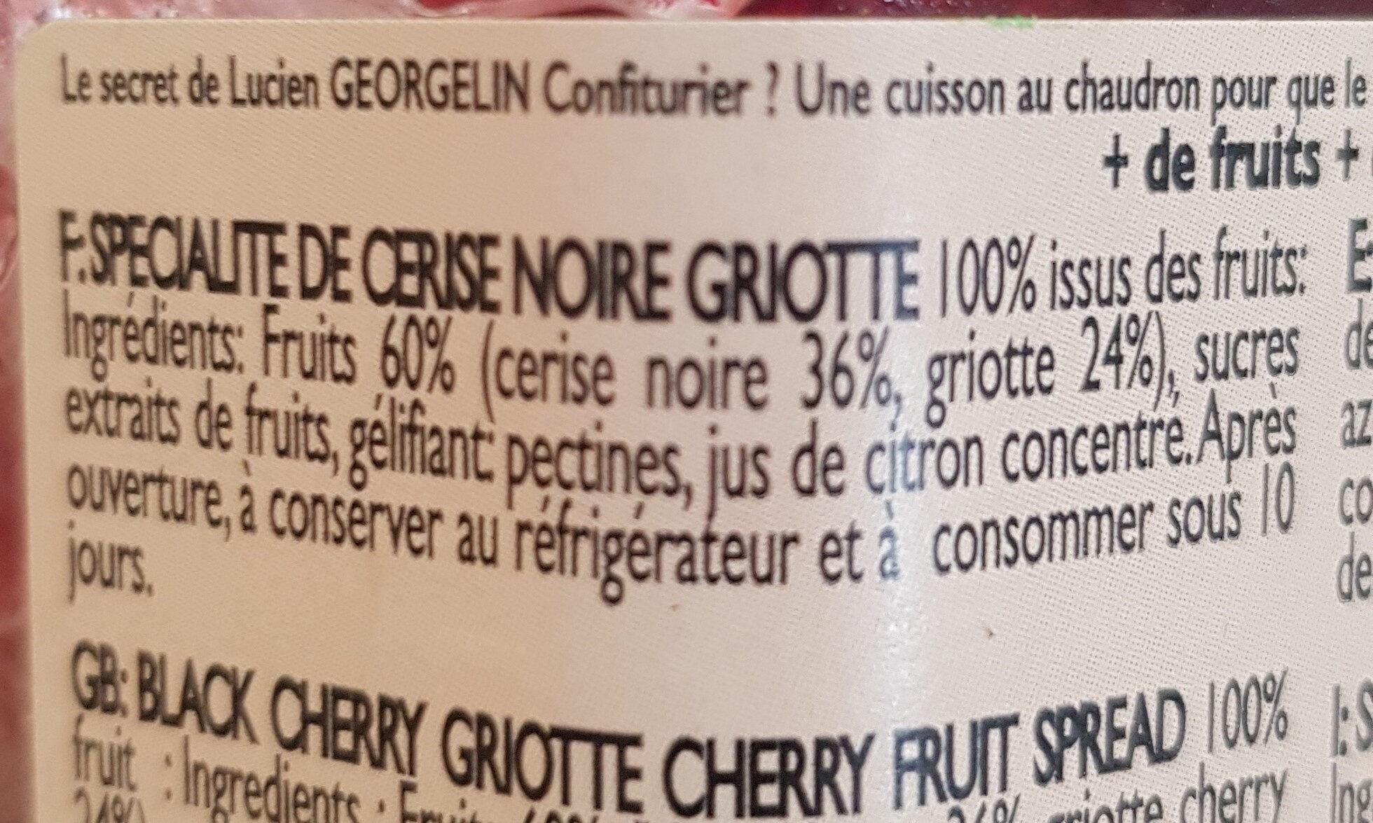 Cerise noire griotte - Ingrediënten - fr
