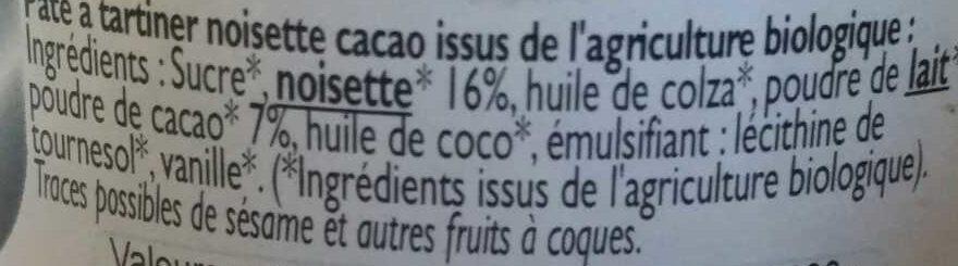 Pâte à tartiner Bio - Ingrédients - fr