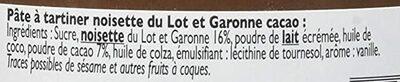 Pâte à tartiner noisette du Lot et Garonne cacao - Ingredients - fr
