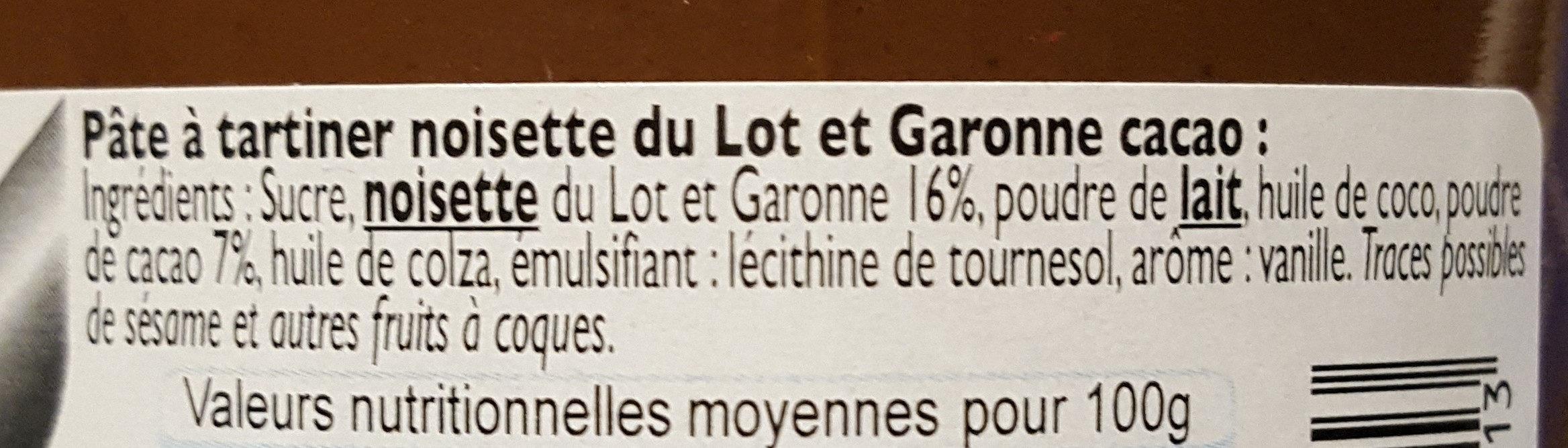 PATE A TARTINER NOISETTE LOT&GARONNE ET CACAO - Ingrédients - fr