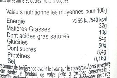 PATE A TARTINER NOISETTE LOT&GARONNE ET CACAO - Informations nutritionnelles - fr