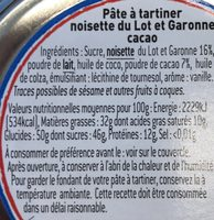 Pate a tartiner noisette cacao - Ingredienti - fr