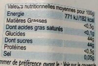 Confiture de rhubarbe - Informations nutritionnelles