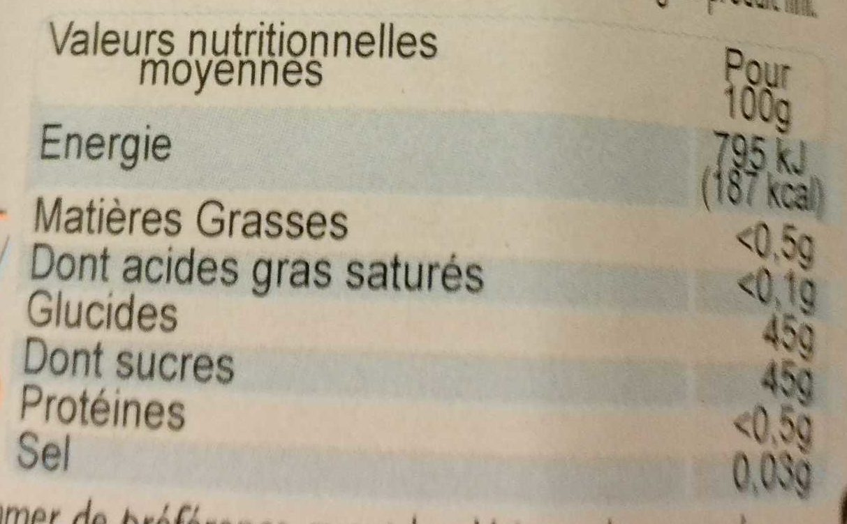 Pêche - Nutrition facts - fr