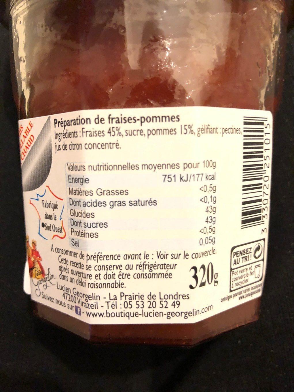 Confiture de fraises - Nutrition facts