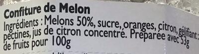 Confiture de melons - Ingrédients - fr