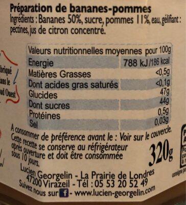 Banane Cuite aux Pommes et au Chaudron - Informations nutritionnelles - fr