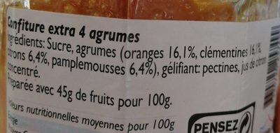 Confiture extra 4 agrumes - Ingredients - fr