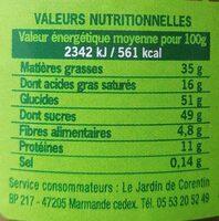 Pate à tartiner noisette cacao - Valori nutrizionali - fr