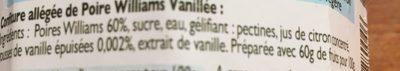 Poire Williams à la Vanille - Ingrediënten