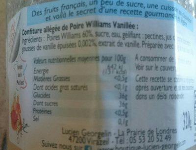 Poire Williams à la Vanille - Voedigswaarden