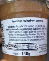 Bergams Dessert Rhubarbe Pomme - Ingrédients - fr