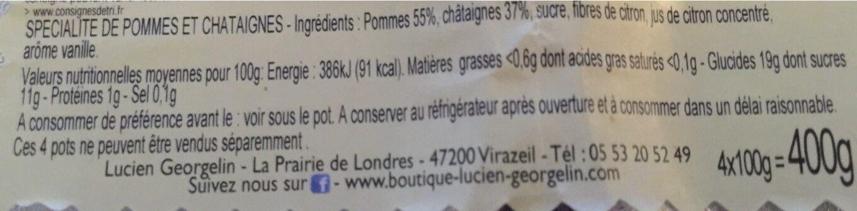 Spécialité de Pomme Châtaigne - Informations nutritionnelles - fr