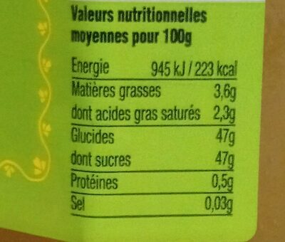 Citron de Corse - Nutrition facts