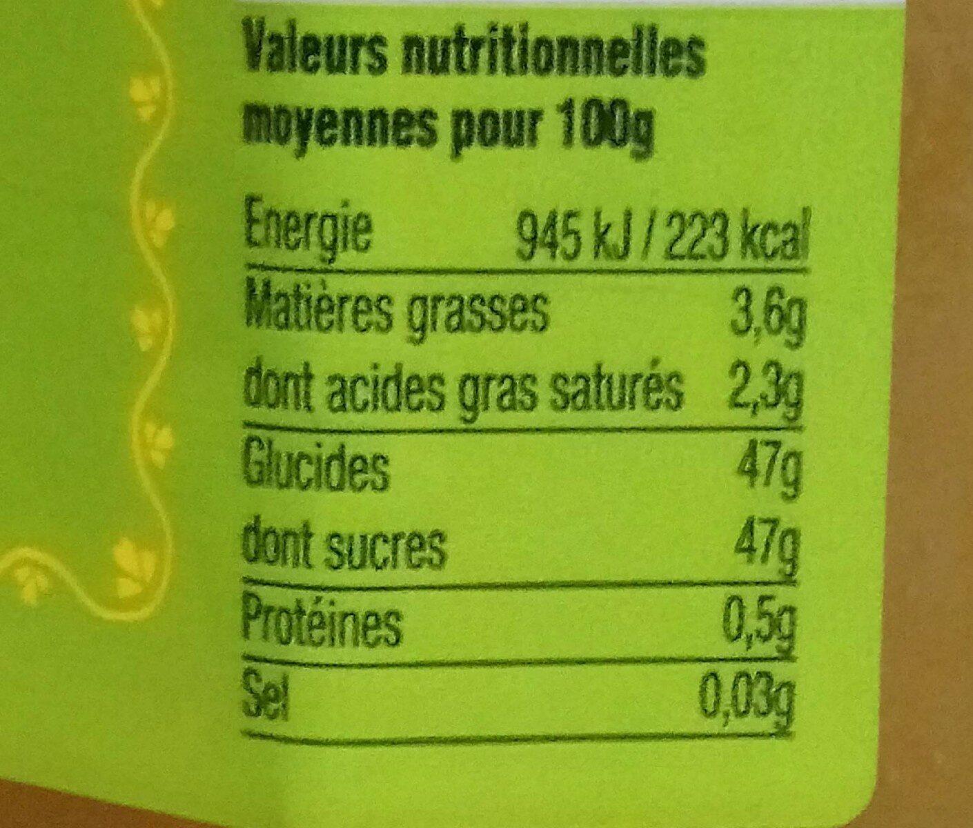 Citron de Corse - Ernæringsfakta - fr