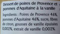 Poires de Provence Pommes à la vanille - Ingredients - fr