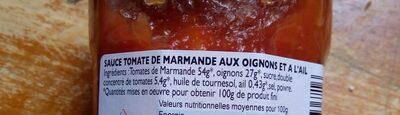 Sauce tomate de Marmande aux oignons et à l'ail - Ingrédients - fr